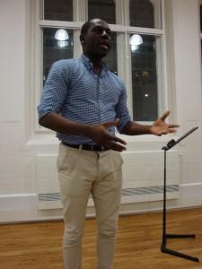 Grammarian Edwin listening the grammar and vocabulary in tonight's speeches