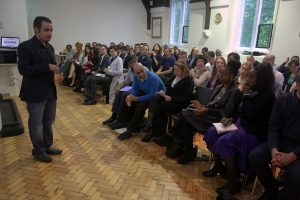 Mohammed addressing our packed venue
