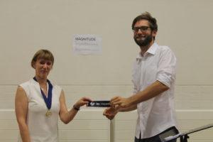 Matthew winning Best Evaluator